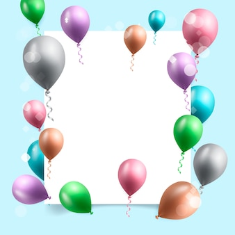 Cartão de comemoração de aniversário com balões