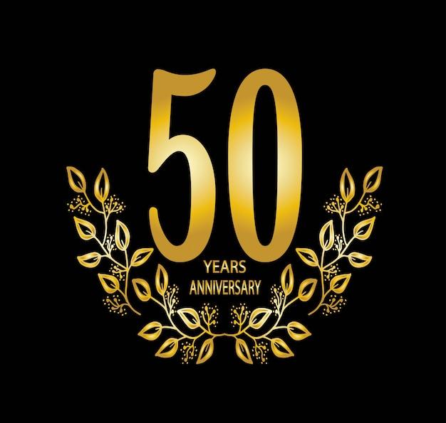 Cartão de comemoração de aniversário de 50 anos - vetor