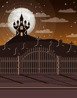 Cartão de comemoração do dia das bruxas com cena de cemitério