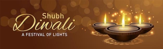 Cartão de comemoração do feliz diwali do festival indiano com diya criativo