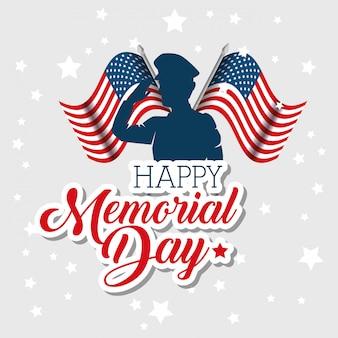 Cartão de comemoração feliz dia memorial com silhueta de soldado