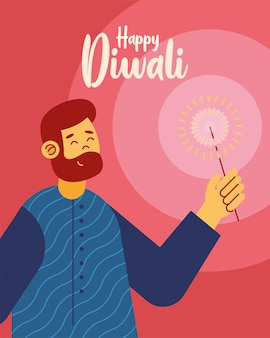 Cartão de comemoração feliz diwali