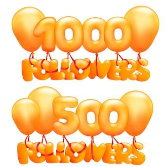 Cartão de conceito de 1000 seguidores com letras voando em balões.