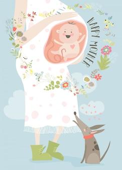 Cartão de conceito de gravidez em estilo cartoon