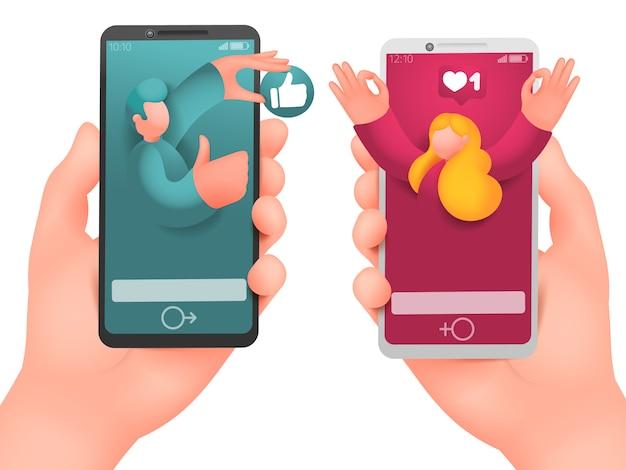 Cartão de conceito de namoro online. comunicação virtual.