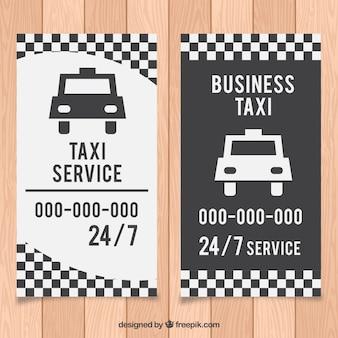 Cartão de condutor branco e preto táxi