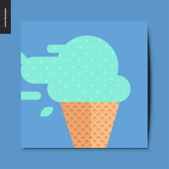Cartão de cone de sorvete de hortelã
