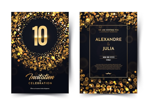 Cartão de convite aniversário de casamento de dez anos Vetor Premium
