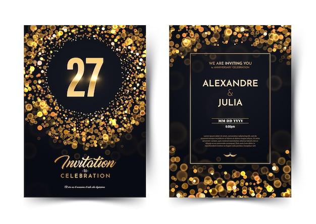 Cartão de convite aniversário de casamento de vinte e sete anos Vetor Premium