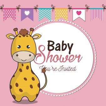 Cartão de convite bebê chuveiro com girafa desing
