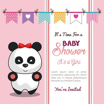 Cartão de convite bebê chuveiro com menina panda desing