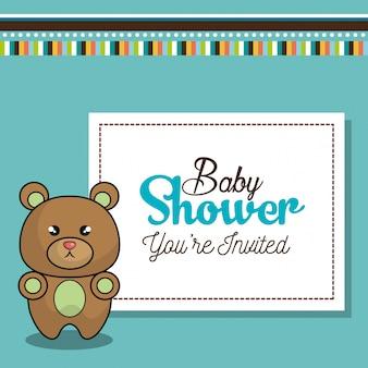 Cartão de convite bebê chuveiro com urso desing