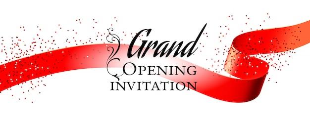 Cartão de convite branco de inauguração