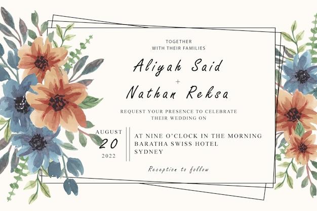 Cartão de convite com arranjos florais em aquarela