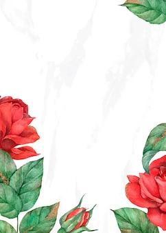 Cartão de convite com borda de rosa florescendo
