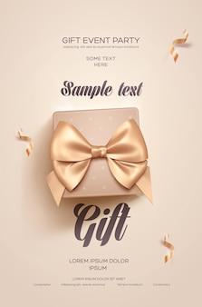 Cartão de convite com caixa de presente e laço dourado