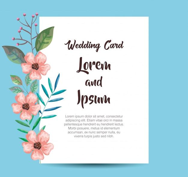 Cartão de convite com decoração de flores