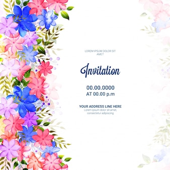 Cartão de convite com flores coloridas e folhas verdes.