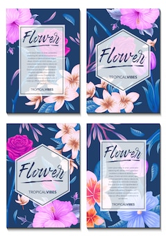 Cartão de convite com fundo de flores tropicais exóticas