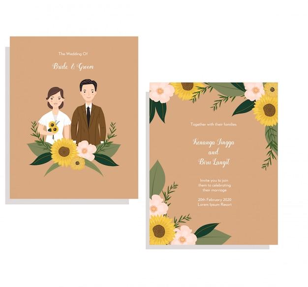 Cartão de convite com ilustração de casal fofo e coroa de flores de sol