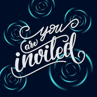 Cartão de convite com letras: você está convidado