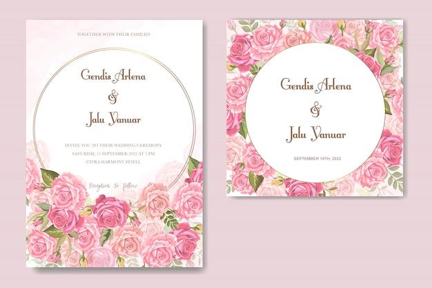 Cartão de convite com linda floral e folhas