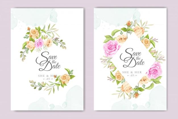 Cartão de convite com lindo modelo floral