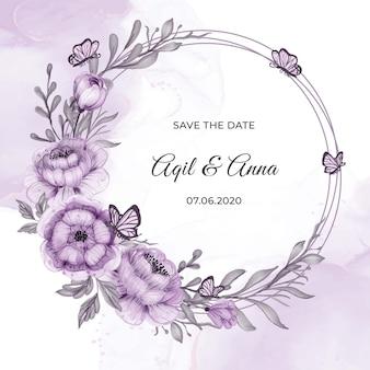 Cartão de convite com moldura de coroa de flores roxas de círculo clássico