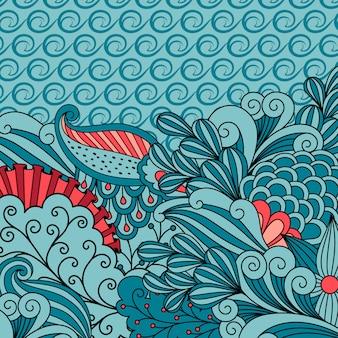 Cartão de convite com ornamento floral azul