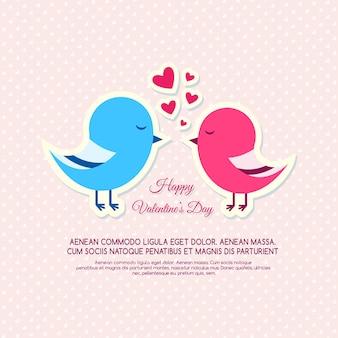 Cartão de convite com pássaros para o dia dos namorados