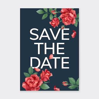 Cartão de convite com rosas e folhas