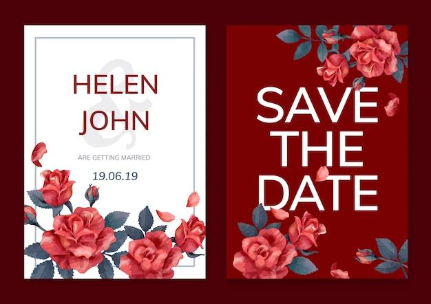 Cartão de convite com um esquema de cores vermelho