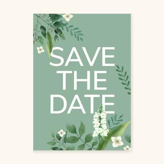 Cartão de convite com um tema verde