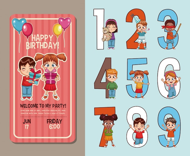 Cartão de convite da festa de aniversário dos miúdos com números