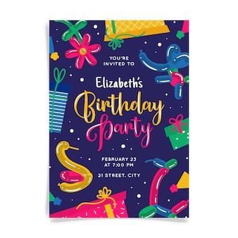 Cartão de convite de aniversário colorido abstrato