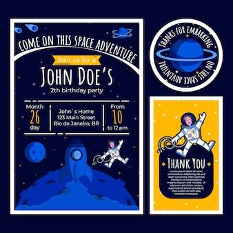 Cartão de convite de aniversário com elementos do espaço
