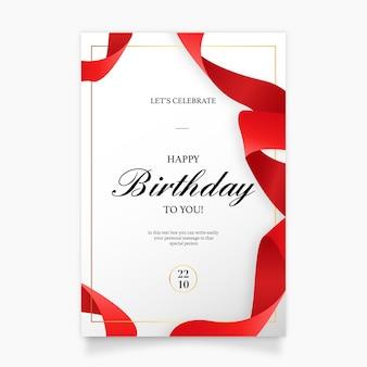 Cartão de convite de aniversário com fita vermelha