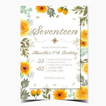 Cartão de convite de aniversário com lindas flores amarelas