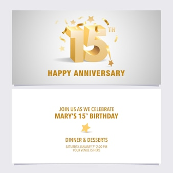 Cartão de convite de aniversário de 15 anos. modelo de design com letras volumétricas de cor dourada para 15 anos