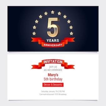 Cartão de convite de aniversário de 5 anos