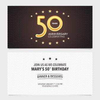 Cartão de convite de aniversário de 50 anos