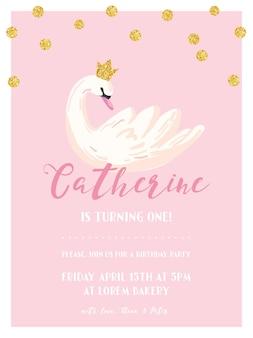 Cartão de convite de aniversário de bebê com ilustração de belo cisne e pontos de brilho dourado, anúncio de chegada, saudações em vetor