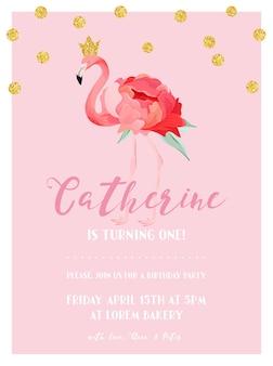 Cartão de convite de aniversário de bebê com ilustração de lindo flamingo e pontos de brilho dourado, anúncio de chegada, saudações em vetor