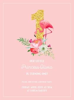 Cartão de convite de aniversário de bebê com ilustração de lindo flamingo, flores e glitter dourado número um, anúncio de chegada, saudações em vetor