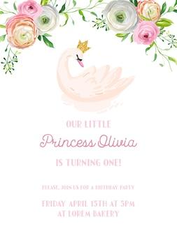Cartão de convite de aniversário de bebê com ilustração de lindos cisnes e flores, anúncio de chegada, saudações em vetor