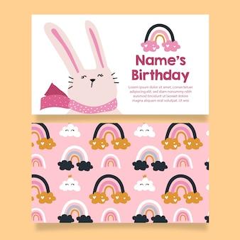 Cartão de convite de aniversário de menina