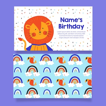 Cartão de convite de aniversário de menino e padrão sem emenda