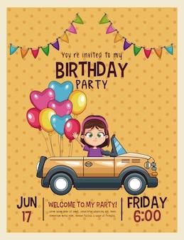 Cartão de convite de aniversário para crianças
