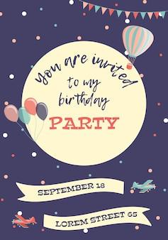 Cartão de convite de aniversário
