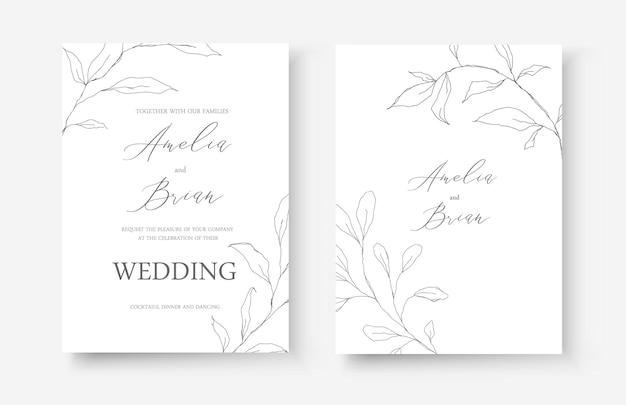 Cartão de convite de arte de casamento